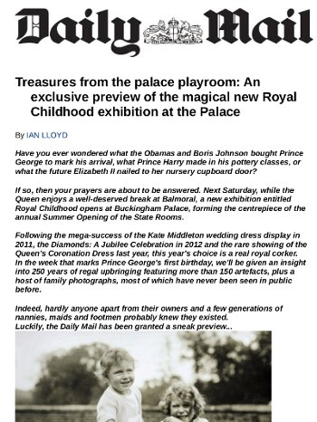 Treasures from the Palace Playroom